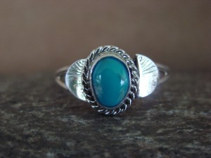 Native American Indian Jewelry Sterling Silver Turquoise Ring, Size 8 Mariano