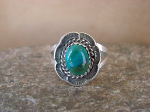 Navajo Indian Jewelry Sterling Silver Turquoise Ring Size 6.0