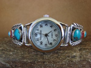Native American Indian Jewelry Sterling Silver Turquoise and Coral  Lady's Watch