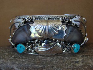 Native American Jewelry Turquoise Sterling Silver Faux Bear Claw Bracelet!