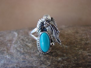 Navajo Indian Jewelry Sterling Silver Turquoise Ring - L. Shorty -  Size 8.5