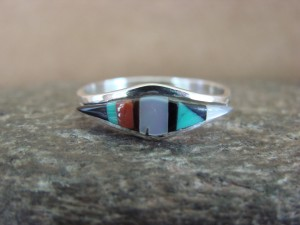 Zuni Indian Sterling Silver Multistone Inlay Ring by Malani Size 8