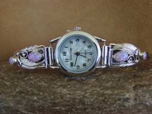 Native American Indian Jewelry Sterling Silver Pink Opal  Lady's Watch
