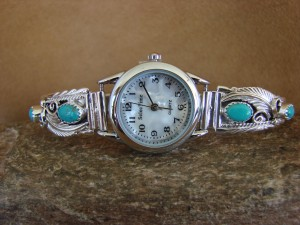 Native American Indian Jewelry Sterling Silver Turquoise Lady's Watch - WA042
