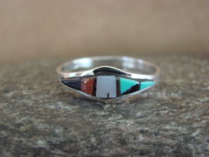Zuni Indian Sterling Silver Multistone Inlay Ring by Malani Size 9