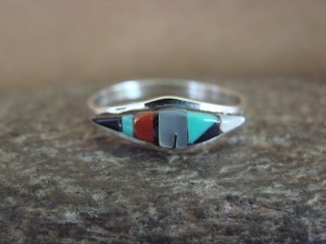 Zuni Indian Sterling Silver Multistone Inlay Ring by Malani Size 8 1/2
