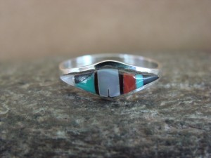 Zuni Indian Sterling Silver Multistone Inlay Ring by Malani Size 7