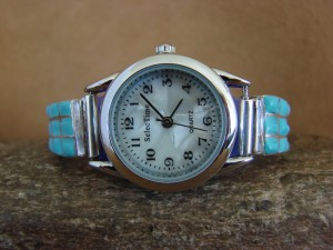 Native American Zuni Indian Jewelry Sterling Silver Turquoise Inlay Lady's Watch