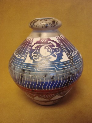Native American Indian Pottery Etched Sea Turtle Painted Horse Hair Vase! Navajo
