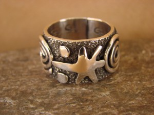 Native American Sterling Silver  Men's Ring by Alex Sanchez Size 8