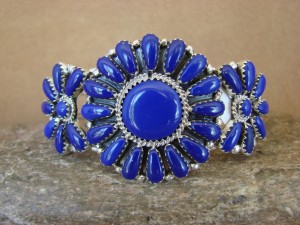 Navajo Indian Jewelry Sterling Silver Lapis Cluster Bracelet!