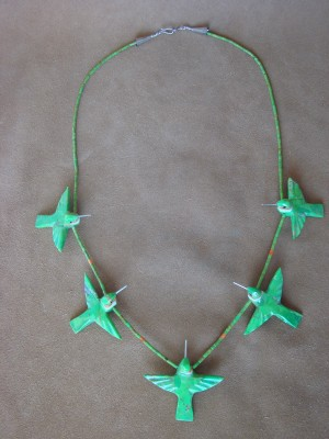 Hand Carved Mohave Turquoise Hummingbird Fetish Necklace Matt Mitchell!
