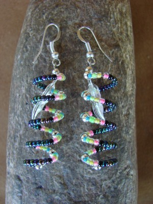 Navajo Indian Hand Spiral Beaded Dangle Earrings by Jackie Cleveland