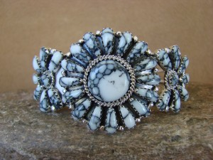 Navajo Indian Jewelry Sterling Silver White Howlite Cluster Bracelet!