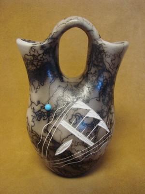 Navajo Indian Horsehair Hand Etched Wedding Vase! Edsitiy