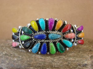 Navajo Indian Jewelry Sterling Silver Gemstone Cluster Bracelet!