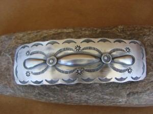 Native American Jewelry Stamped Sterling Silver Hair Barrette! Navajo Indian