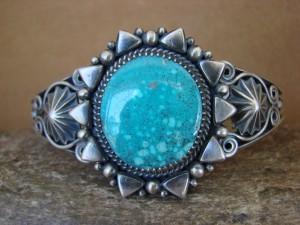 Native American Sterling Silver Kingman Turquoise Bracelet Derrick Gordon!
