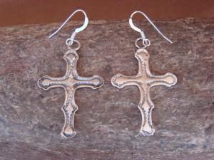 Navajo Indian Jewelry Handmade Sterling Silver Cross Earrings -  Louise Joe
