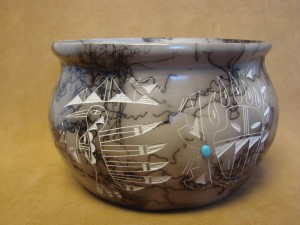 Native American Indian Pottery Horse Hair Pot! Navajo