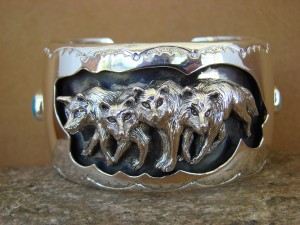 Large Navajo Indian Turquoise Sterling Silver Wolf Pack Bracelet Thomas Yazzie