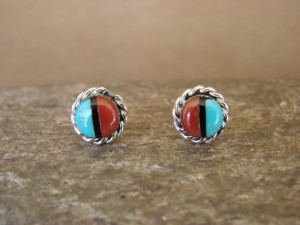 Native American Sterling Silver Turquoise Coral Post Earrings by Leander Cachini