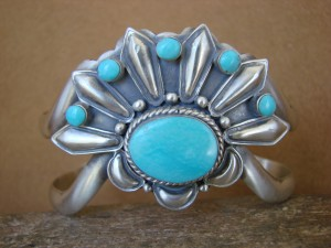 Native American Jewelry Sterling Silver Turquoise Bracelet! Emerson Delgarito
