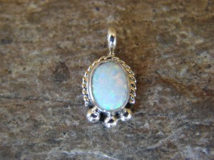 Navajo Indian Jewelry Sterling Silver Opal Pendant by Jan Mariano