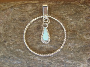 Zuni Indian Jewelry Sterling Silver Opal Pendant by Kathy Siutza