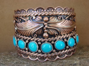 Large Native American Jewelry Copper Turquoise Bracelet!