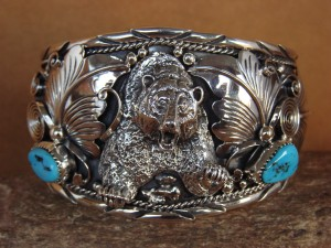 Large Navajo Indian Turquoise Sterling Silver Bear Bracelet Thomas Yazzie