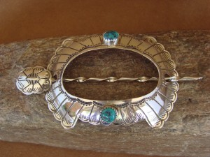 Native American Jewelry Stamped Silver Turquoise Hair Bun Stick! Navajo Indian