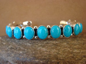 Native American Indian Jewelry Sterling Silver Turquoise Bracelet Running Bear