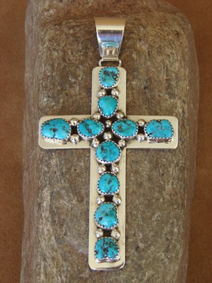 Native American Navajo Indian Sterling Silver Turquoise Cross Pendant by T. Jones!