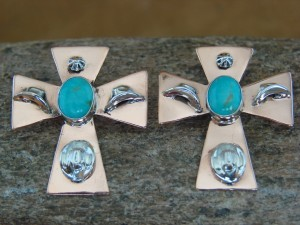 Navajo Indian Jewelry Sterling Silver & Copper Cross Cowgirl Earrings!
