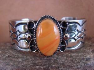 Native American Jewelry Nickel Silver Spiny Oyster Bracelet by Jackie Cleveland!