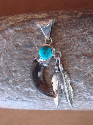 Navajo Indian Sterling Silver Hand Stamped Turquoise Faux Claw Pendant!