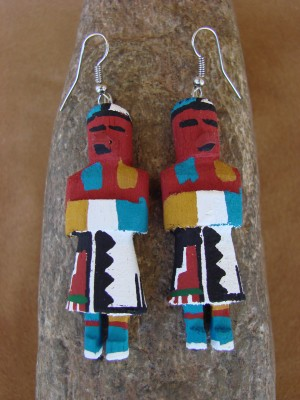 Navajo Indian Coyote Clan Kachina Earrings! by Loretta Multine! 1