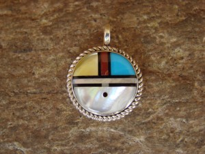 Native American Indian Jewelry Turquoise Inlay Sunface Pendant! Zuni.
