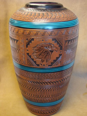 Large Navajo Indian Pottery Hand Etched Pot by Watchman! Native American
