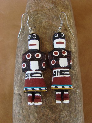 Navajo Indian Snake Dancer Kachina Earrings! by Loretta Multine!