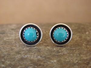 Native American Sterling Silver Turquoise Post Earrings! Handmade!
