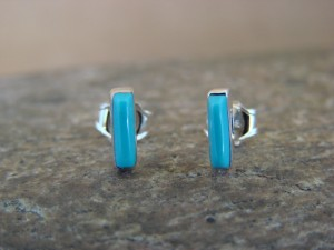 Native American Sterling Silver Turquoise Needle Point Post Earrings! Handmade!