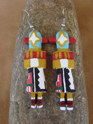 Navajo Indian Meteor Man Kachina Earrings! by Loretta Multine! 2