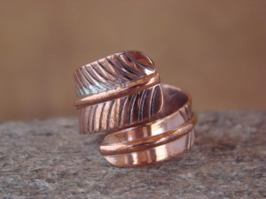 Navajo Indian Handmade Copper Feather Ring by Douglas Etsitty, Adjustable! U0006