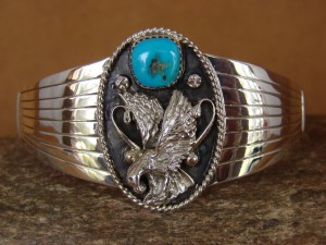Native American Indian Jewelry Sterling Silver Turquoise Eagle Bracelet