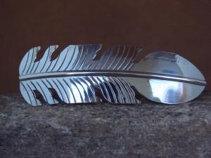 Navajo Indian Jewelry Sterling Silver Feather Hair Barrette by Douglas Etsitty!