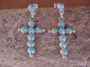 Large Zuni Indian Sterling Silver Turquoise Cross Earrings! Signed!