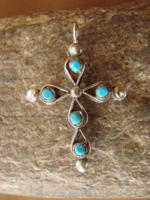 Zuni Indian Sterling Silver Turquoise & Coral Cross Pendant! Reversible