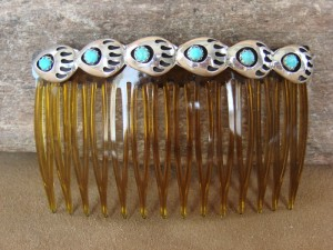 Native American Sterling Silver Turquoise Bear Paw Hair Comb